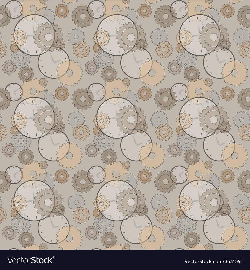 Seamless pattern with clocks and cog wheels vector | Price: 1 Credit (USD $1)