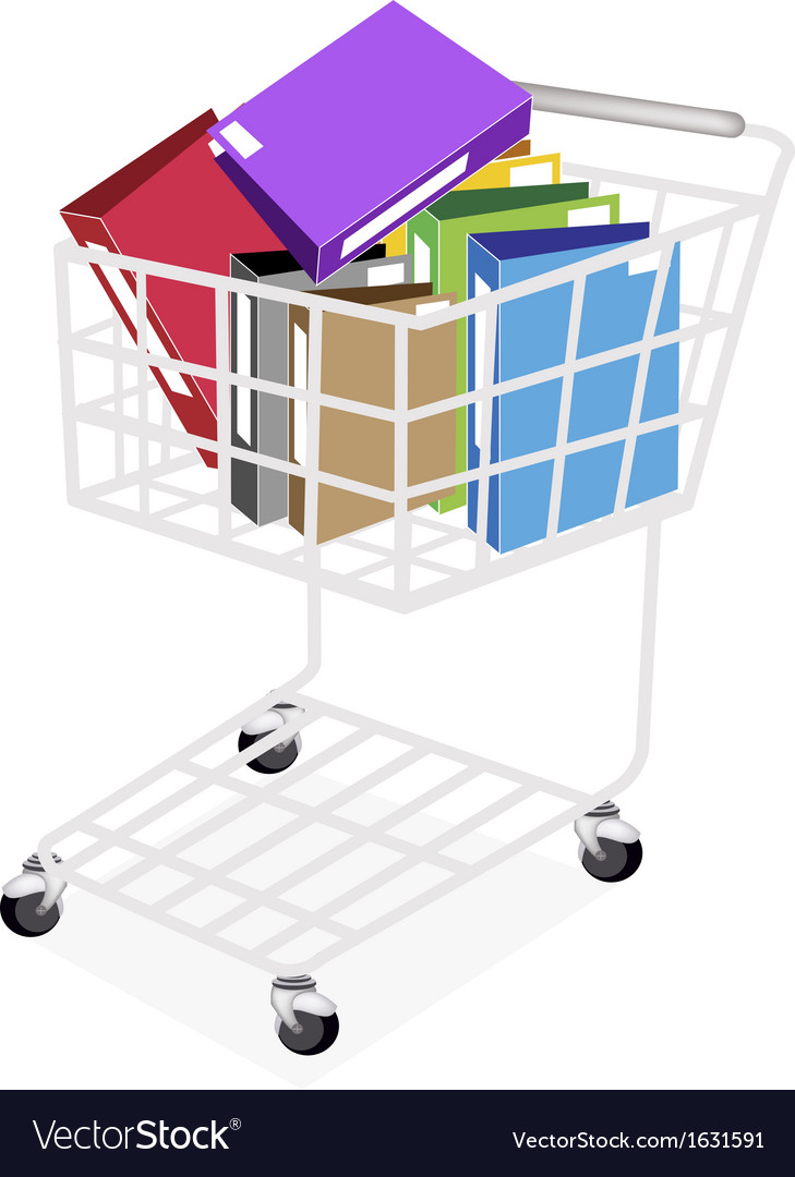 Seven colors of office folder in shopping cart vector | Price: 1 Credit (USD $1)