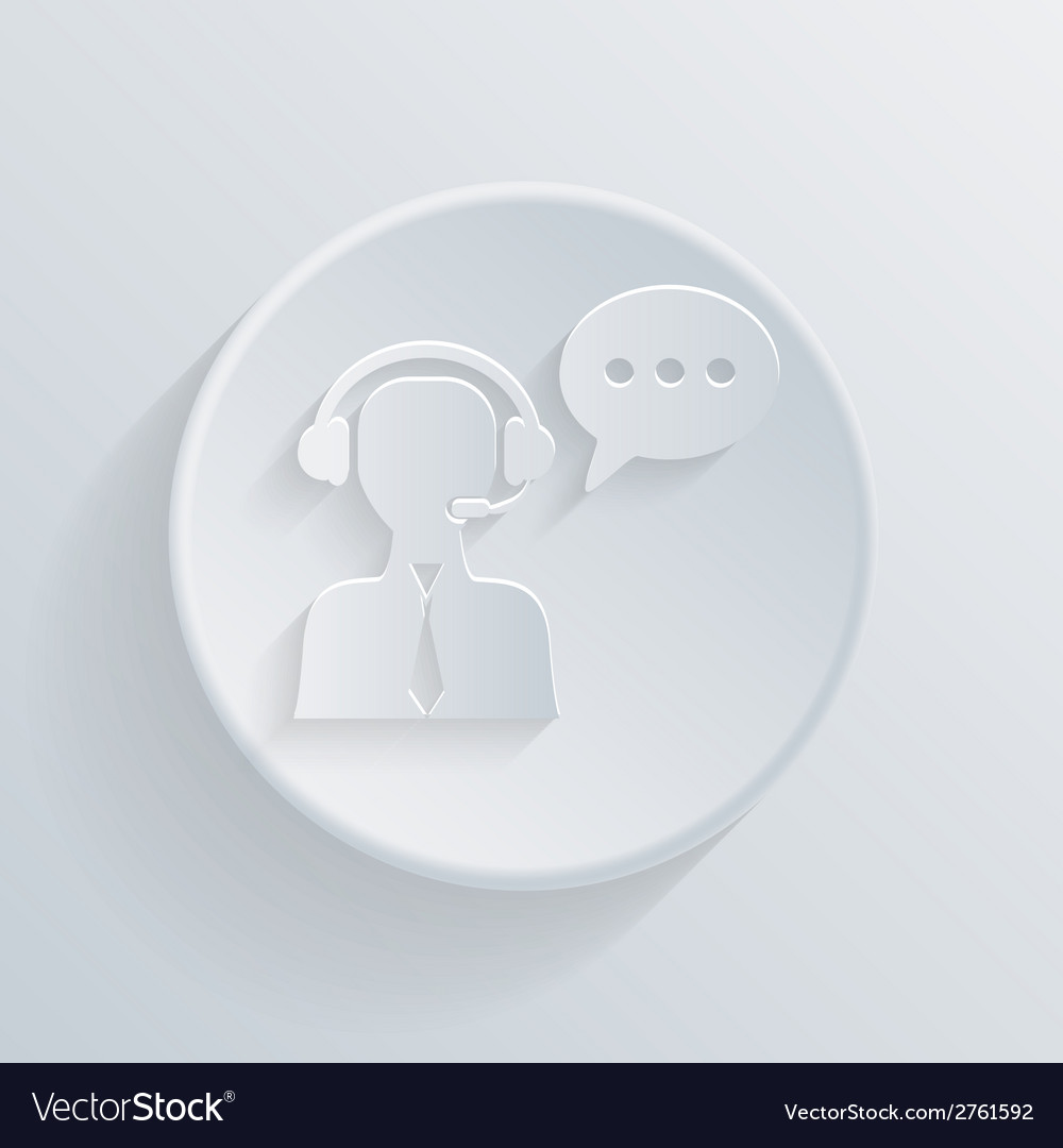 Circle icon with a shadow customer support vector | Price: 1 Credit (USD $1)