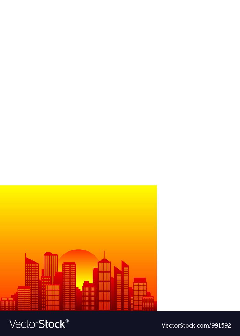 City skyline and sun vector | Price: 1 Credit (USD $1)