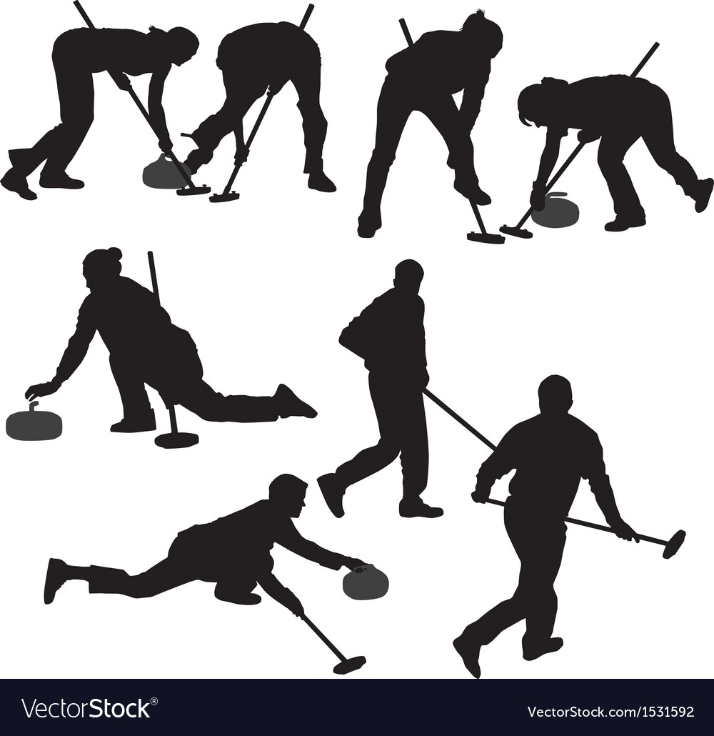 Curling game silhouette vector | Price: 1 Credit (USD $1)