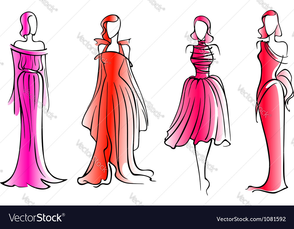 Fashion models in modern beautiful dresses vector | Price: 1 Credit (USD $1)