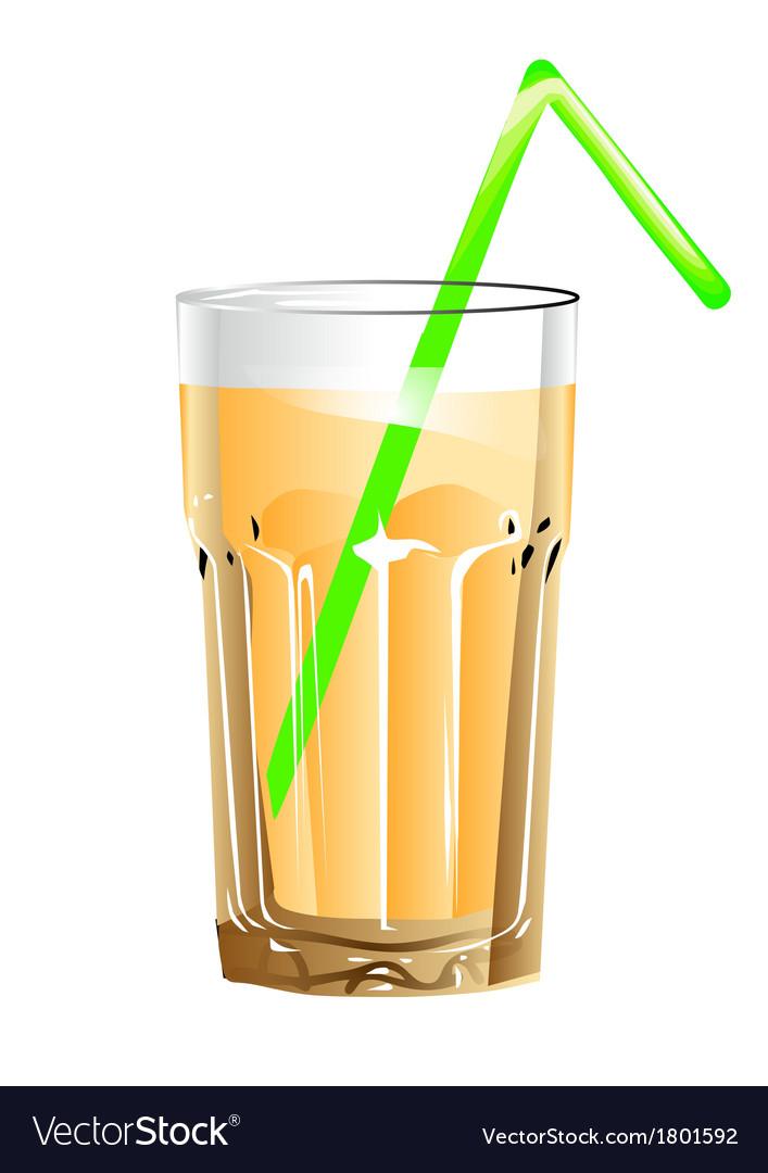 Glass of juice vector