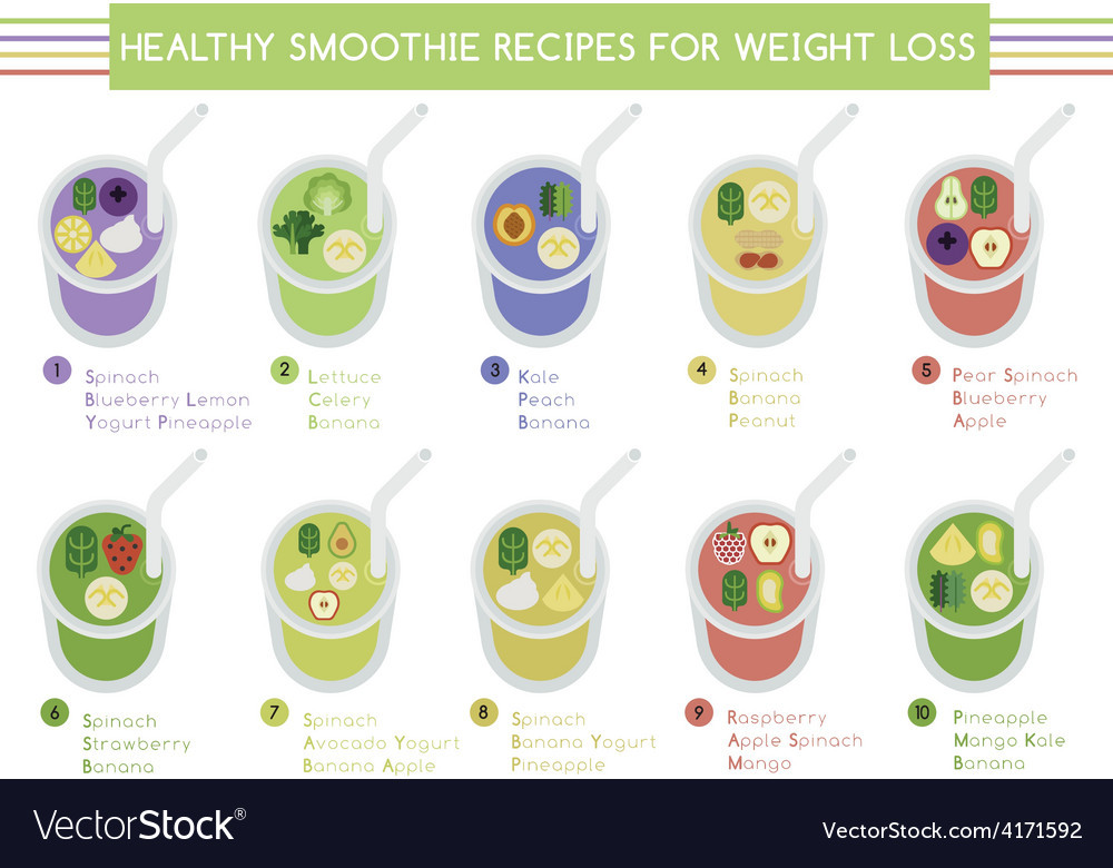 Healthy smoothie recipes for weight loss vector | Price: 1 Credit (USD $1)