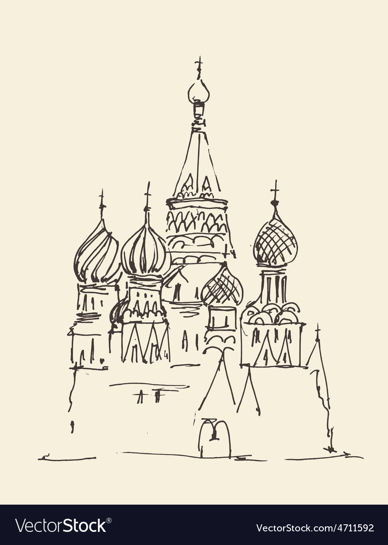 Moscow cathedral of vasily the blessed city vector | Price: 1 Credit (USD $1)