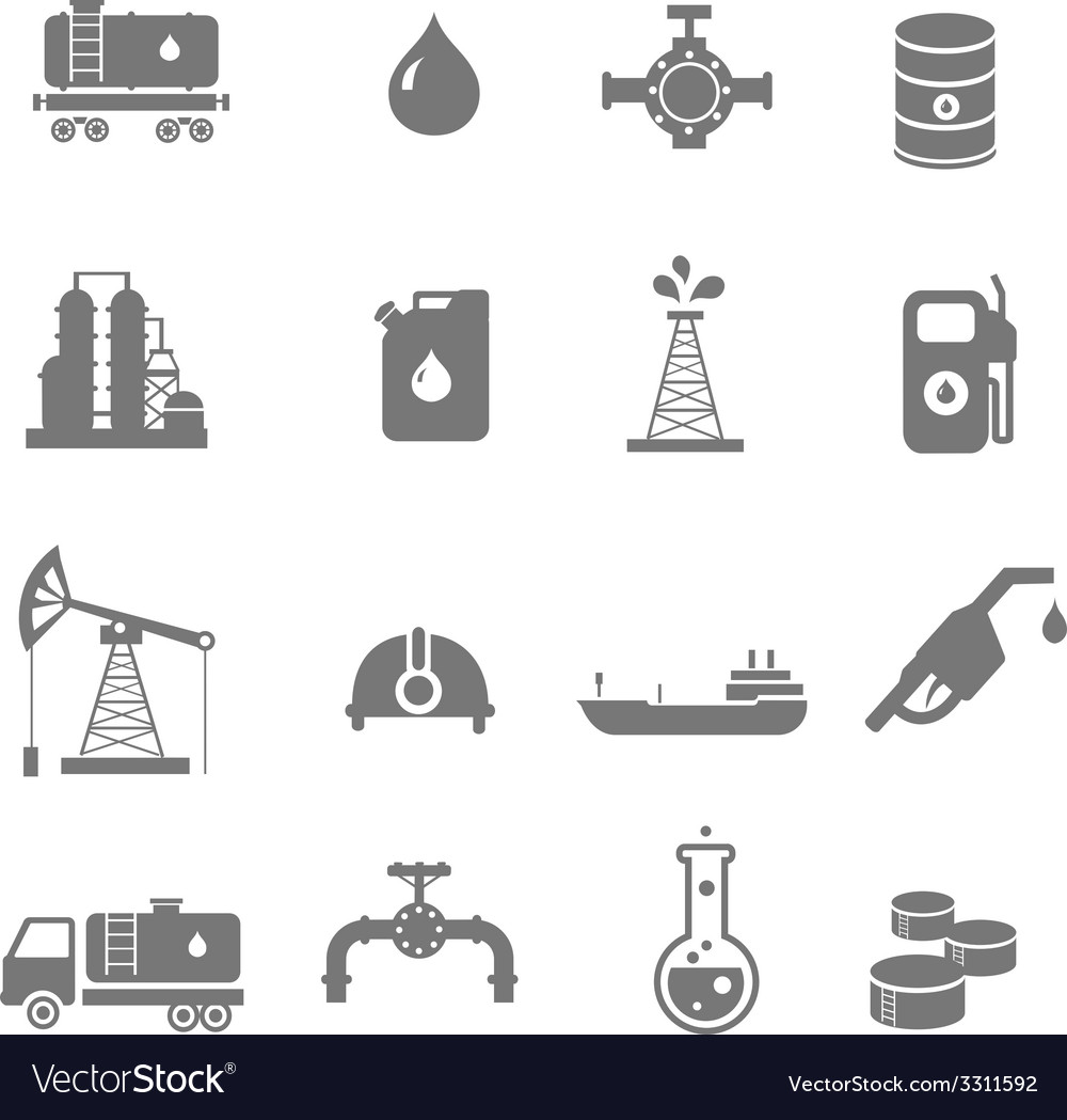 Oil industry gasoline processing symbols icons set vector | Price: 1 Credit (USD $1)