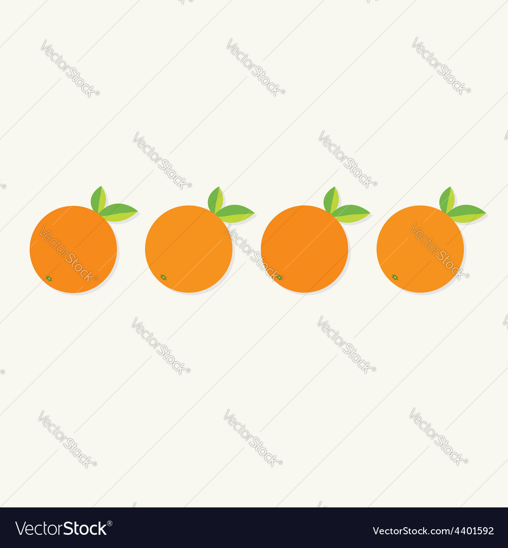 Orange fruit set with leaf row healthy lifestyle vector | Price: 1 Credit (USD $1)