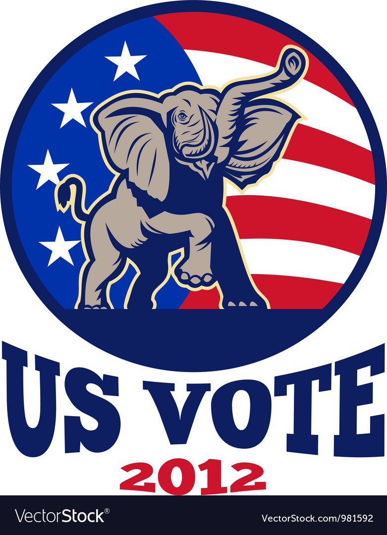 Republican elephant mascot usa flag vector | Price: 1 Credit (USD $1)
