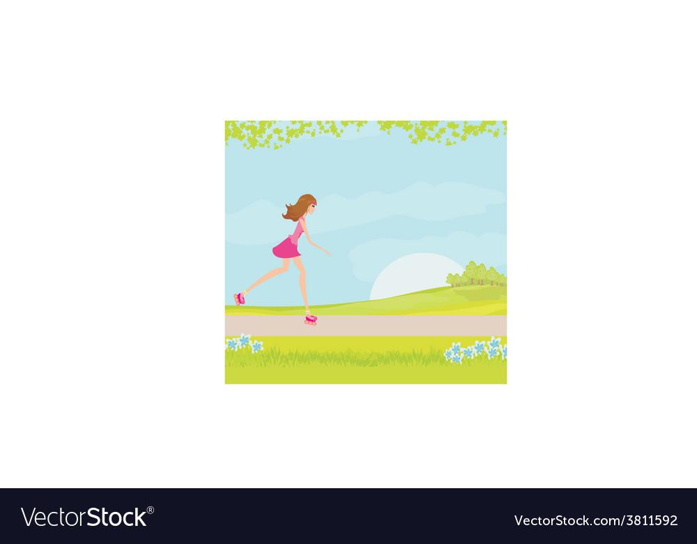 Teen girl having fun on roller skates vector | Price: 1 Credit (USD $1)