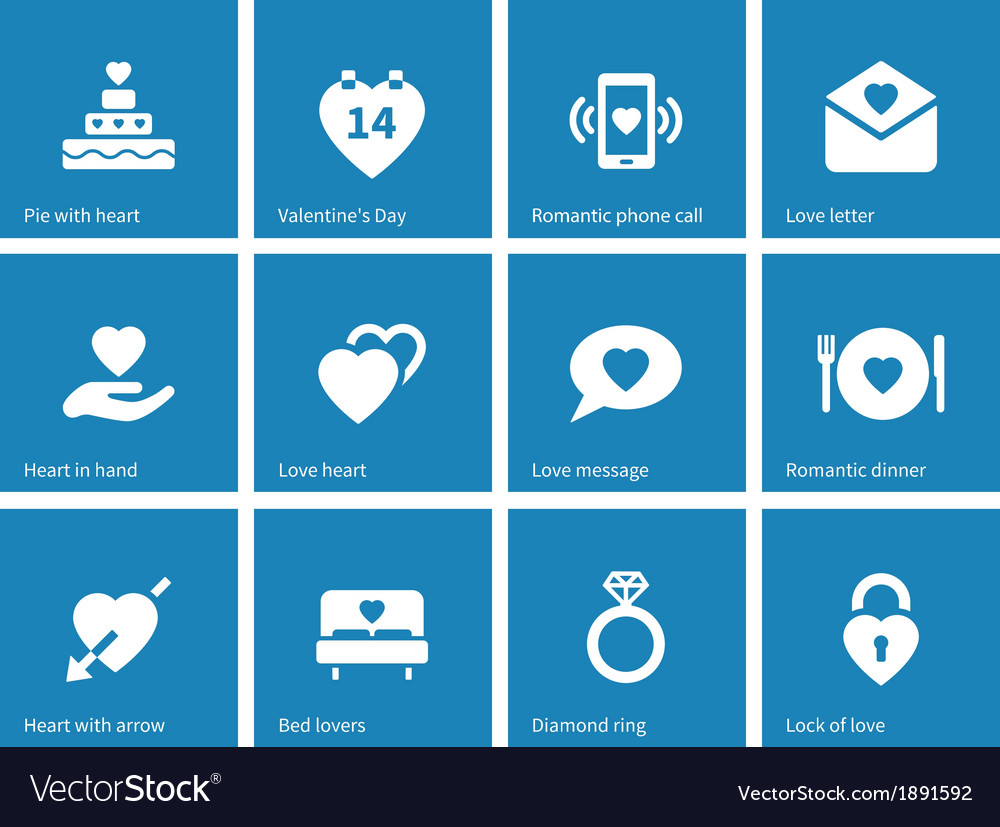 Valentines day icons on blue background vector | Price: 1 Credit (USD $1)
