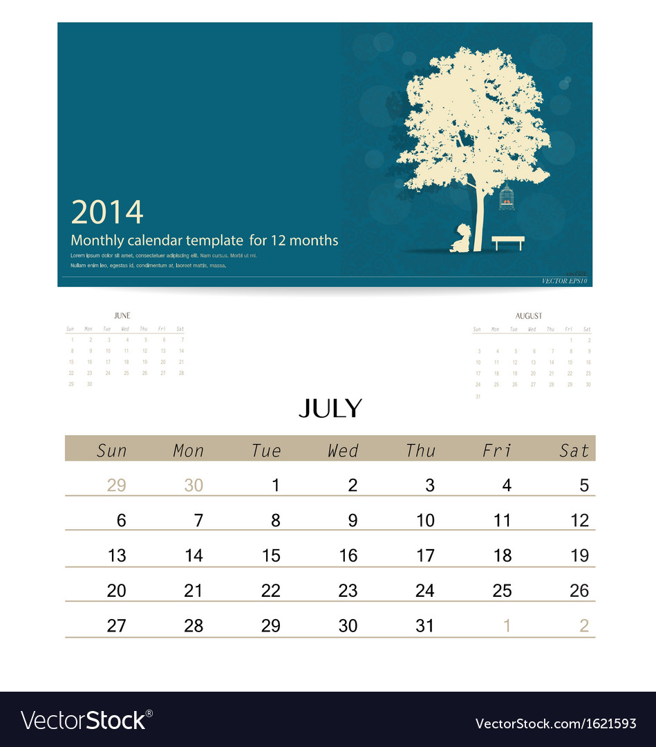 2014 calendar monthly calendar template for july vector | Price: 1 Credit (USD $1)