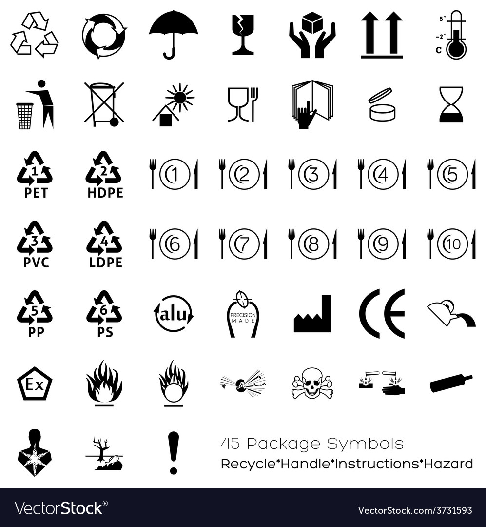 Collection of 45 packaging symbols vector | Price: 1 Credit (USD $1)