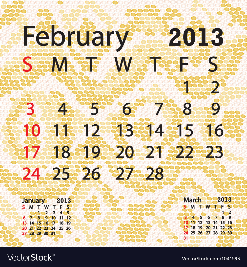 February 2013 calendar albino snake skin vector | Price: 1 Credit (USD $1)