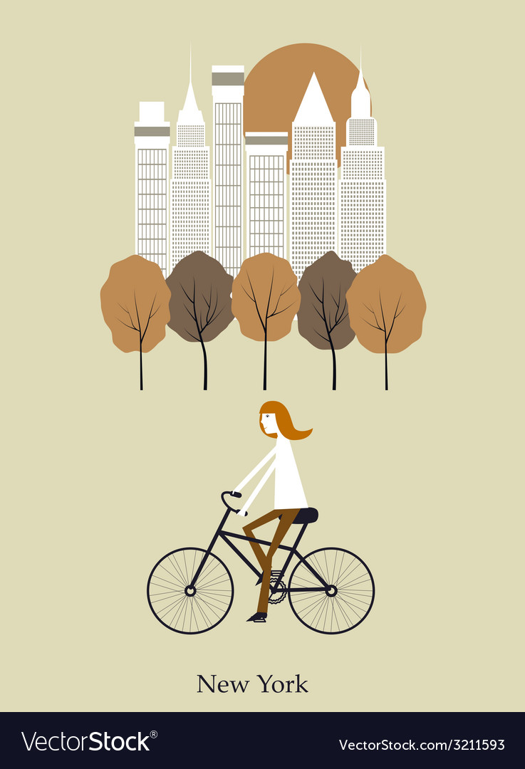 Girl on a bicykle vector | Price: 1 Credit (USD $1)