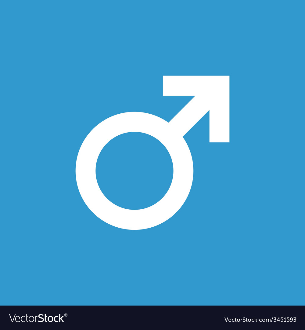 Male symbol icon white on the blue background vector | Price: 1 Credit (USD $1)