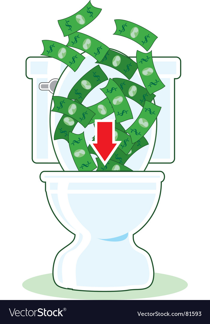 Money down the toilet vector | Price: 1 Credit (USD $1)