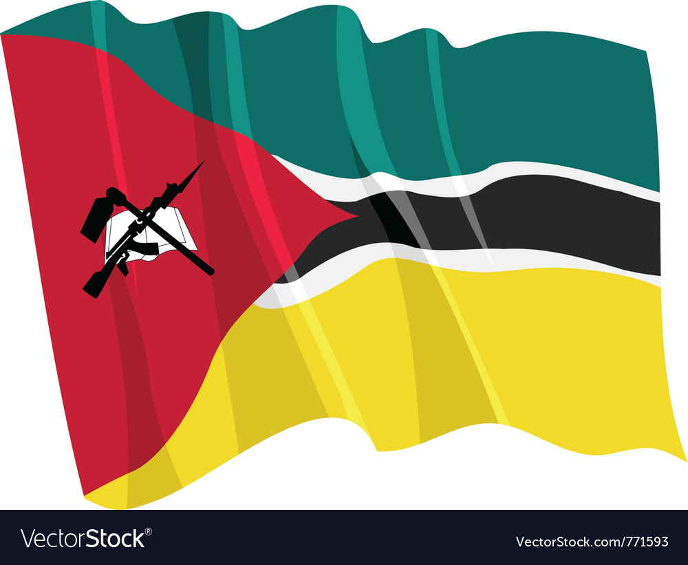Political waving flag of mozambique vector | Price: 1 Credit (USD $1)