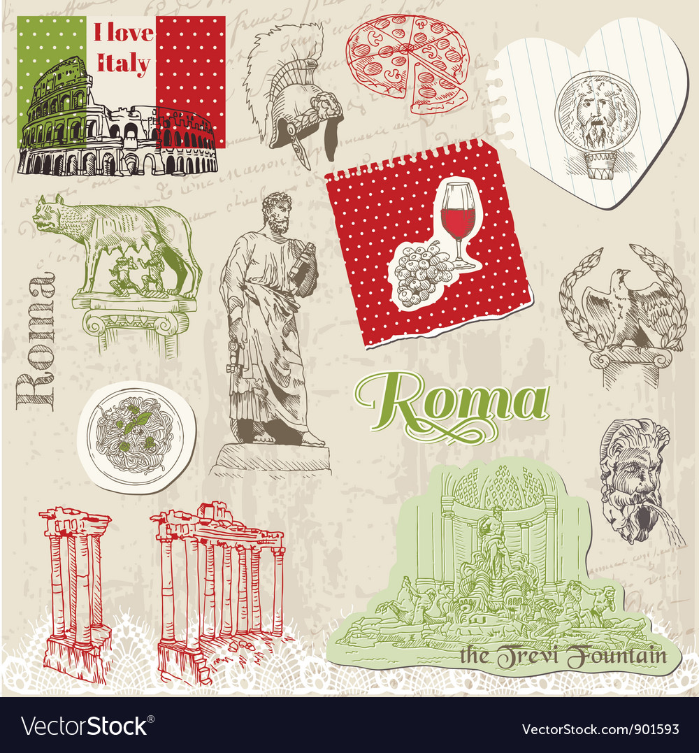 Set of rome doodles vector | Price: 1 Credit (USD $1)
