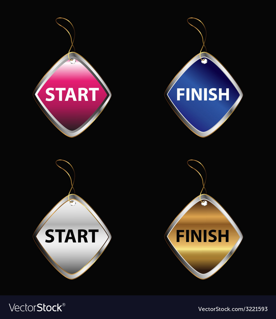 Start finish buttons tag vector | Price: 1 Credit (USD $1)