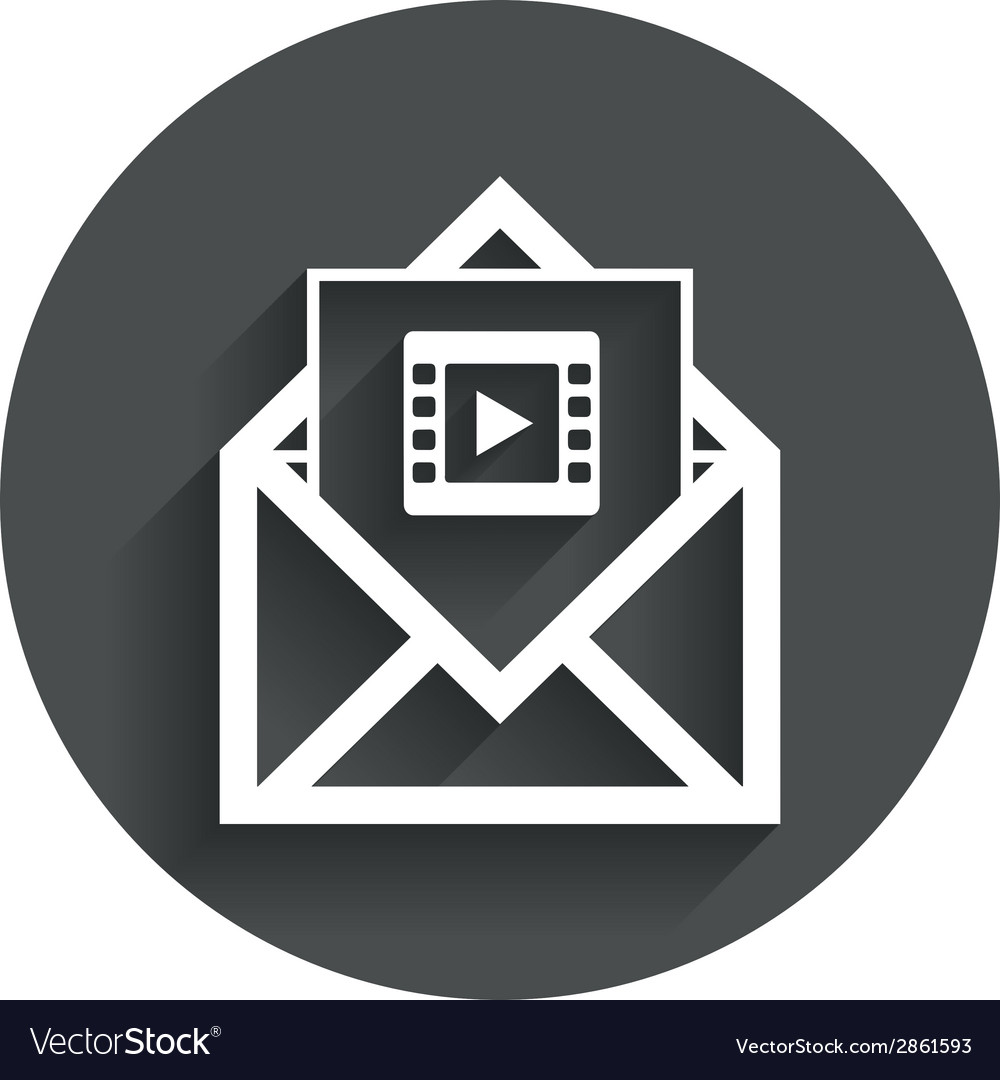 Video mail icon video frame symbol message vector | Price: 1 Credit (USD $1)