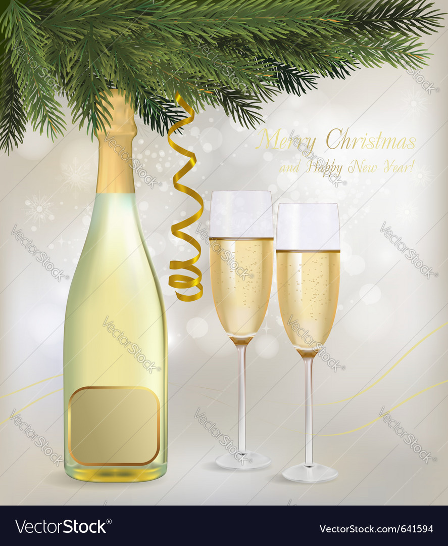 Champagne and a bottle vector | Price: 1 Credit (USD $1)