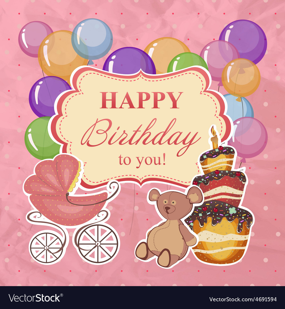 Childrens greeting background with birthday vector | Price: 1 Credit (USD $1)