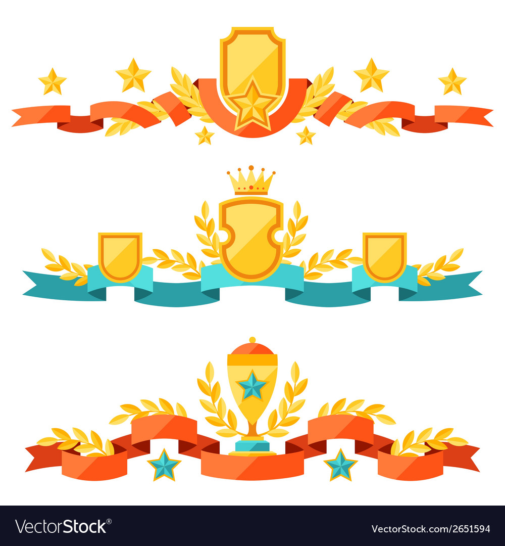Decor with ribbons and awards in flat design style vector   Price: 1 Credit (USD $1)