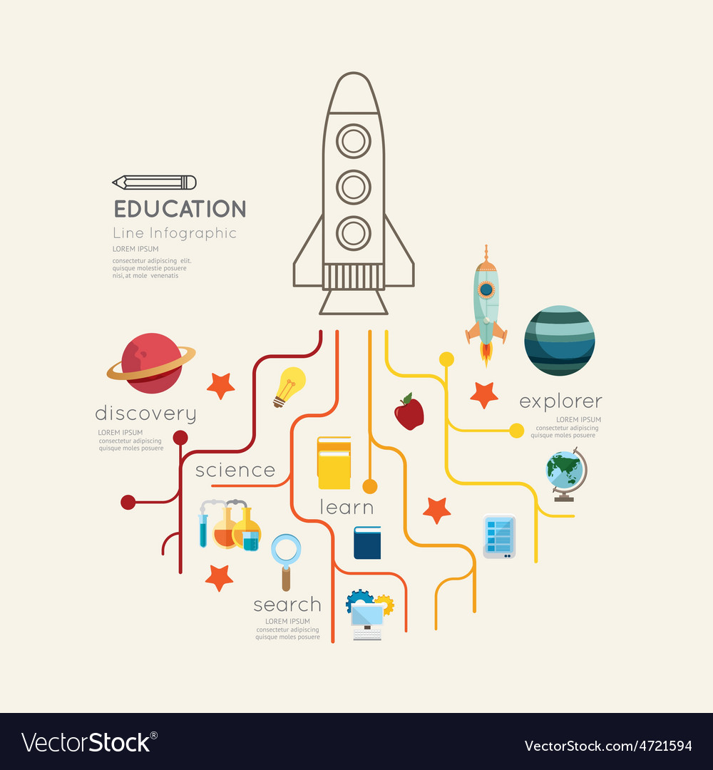 Flat line infographic education rocket outline vector   Price: 1 Credit (USD $1)