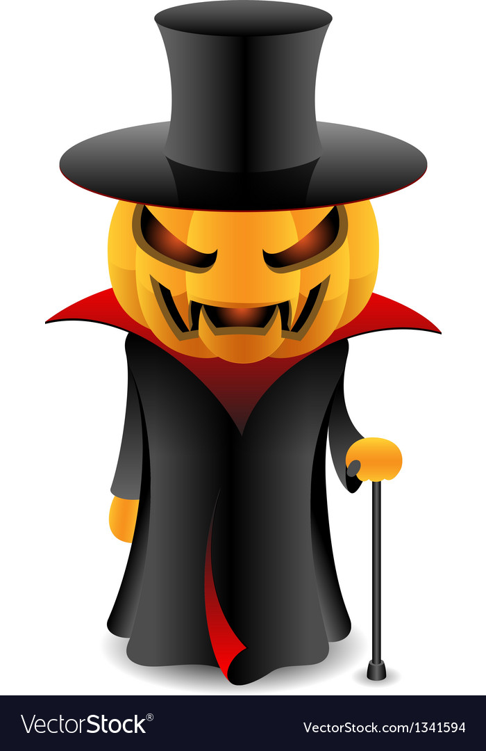 Halloween pumpkin vampire vector | Price: 1 Credit (USD $1)