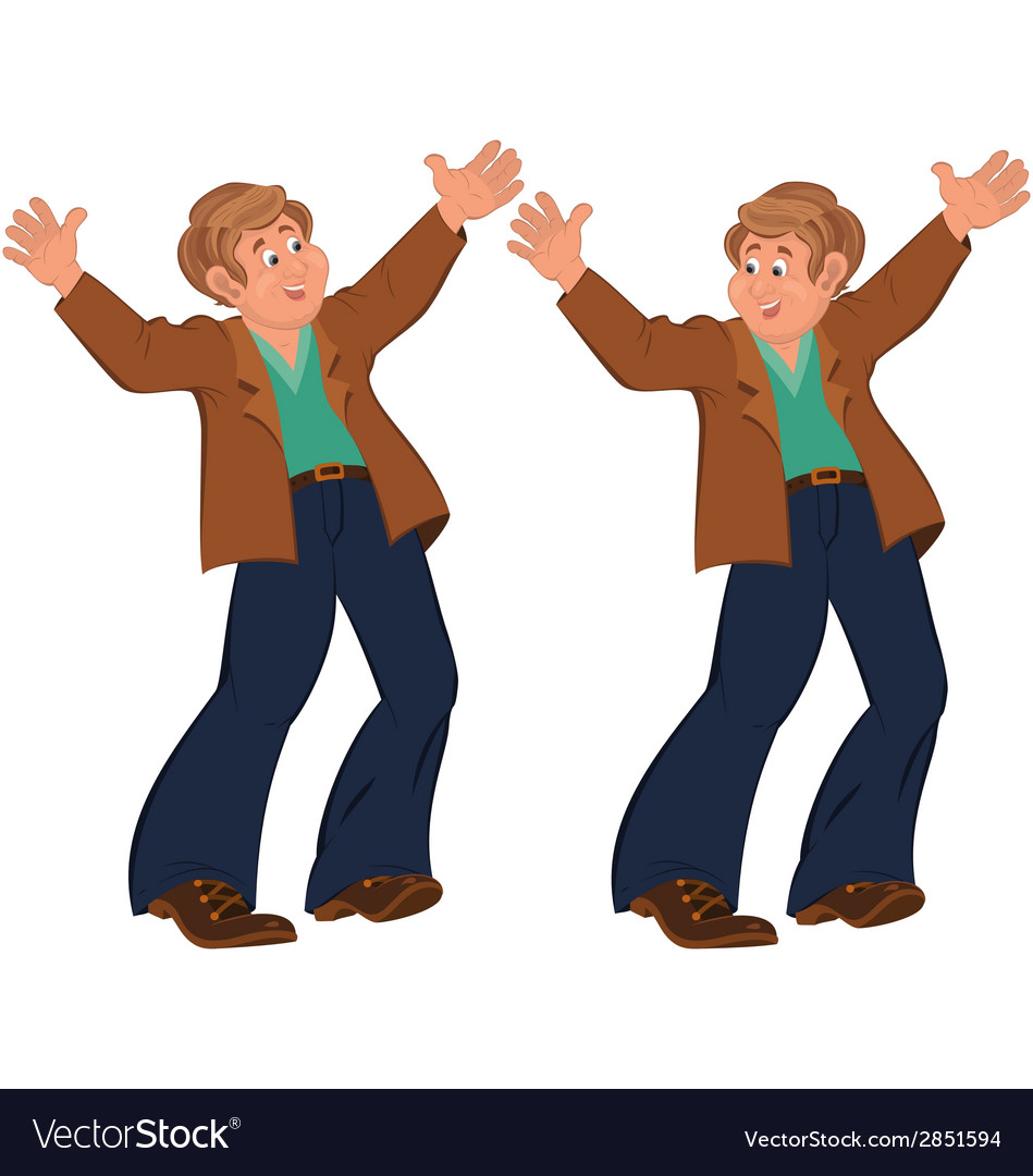 Happy cartoon man standing in blue pants happily vector | Price: 1 Credit (USD $1)