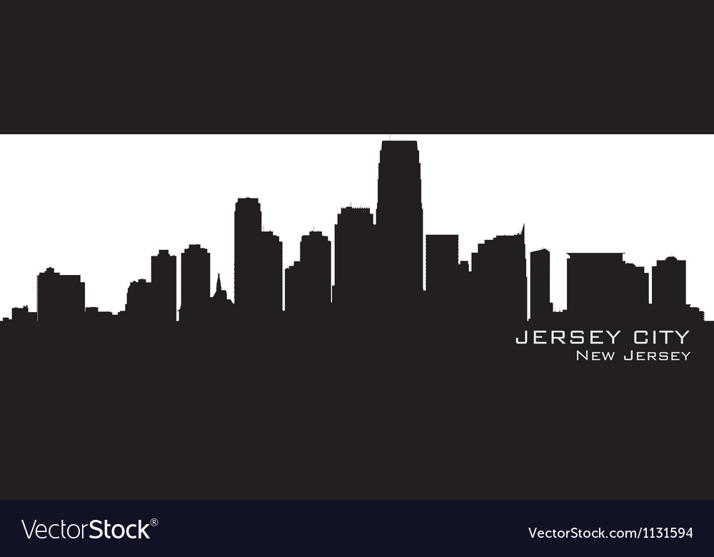 Jersey city new jersey skyline detailed silhouette vector | Price: 1 Credit (USD $1)