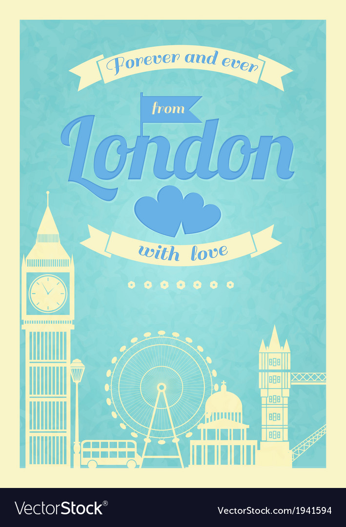 Love london vintage retro poster vector | Price: 1 Credit (USD $1)