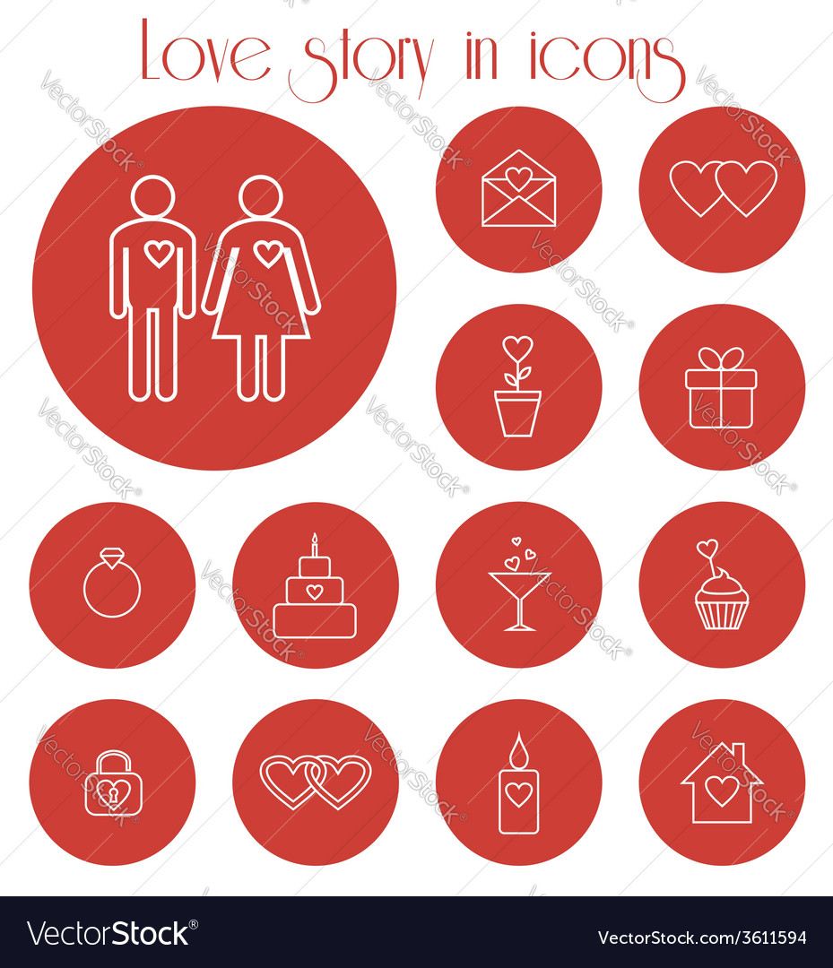 Love story in icons vector | Price: 1 Credit (USD $1)