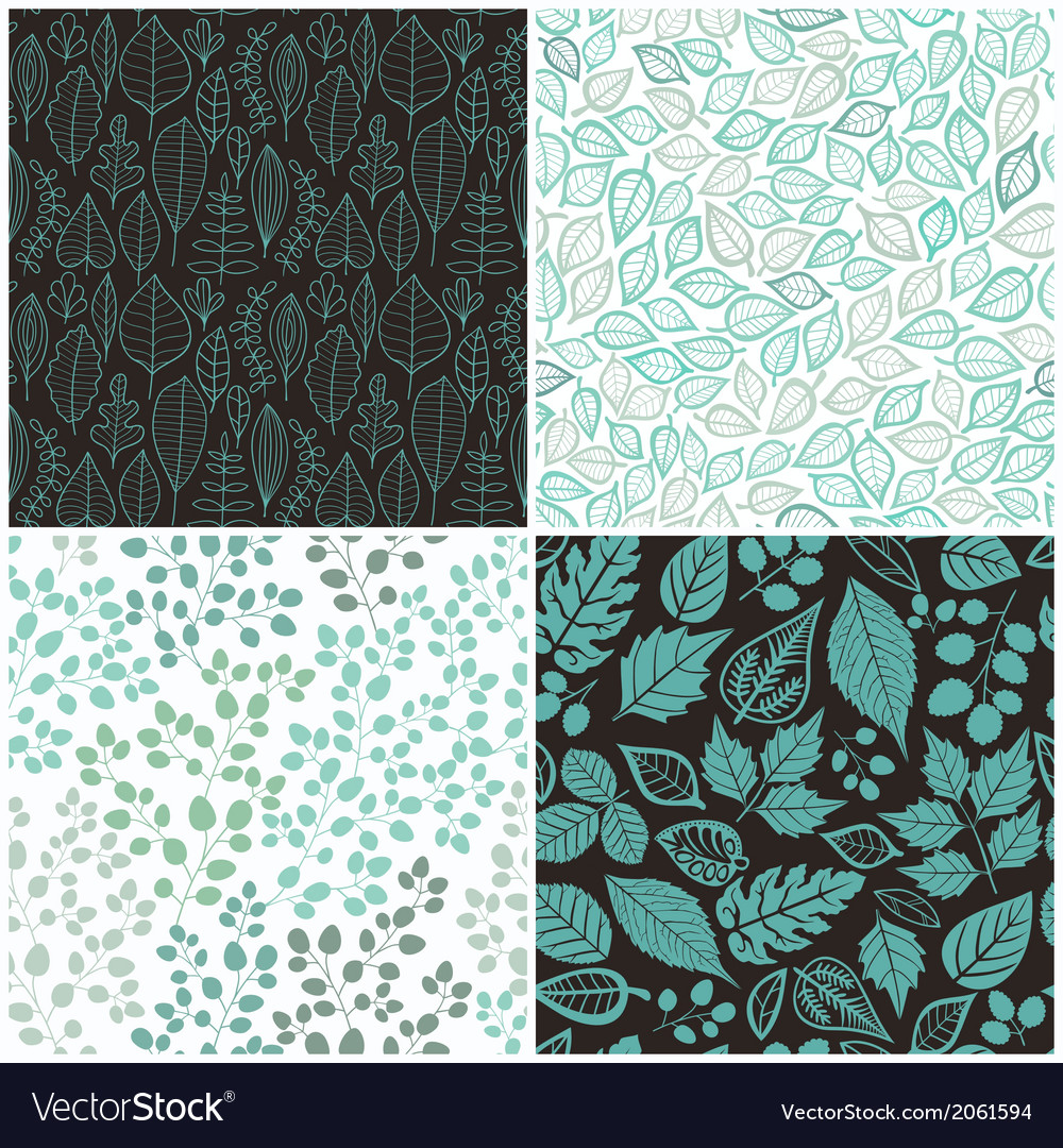 Set of four seamless pattern with leaf abstract vector | Price: 1 Credit (USD $1)
