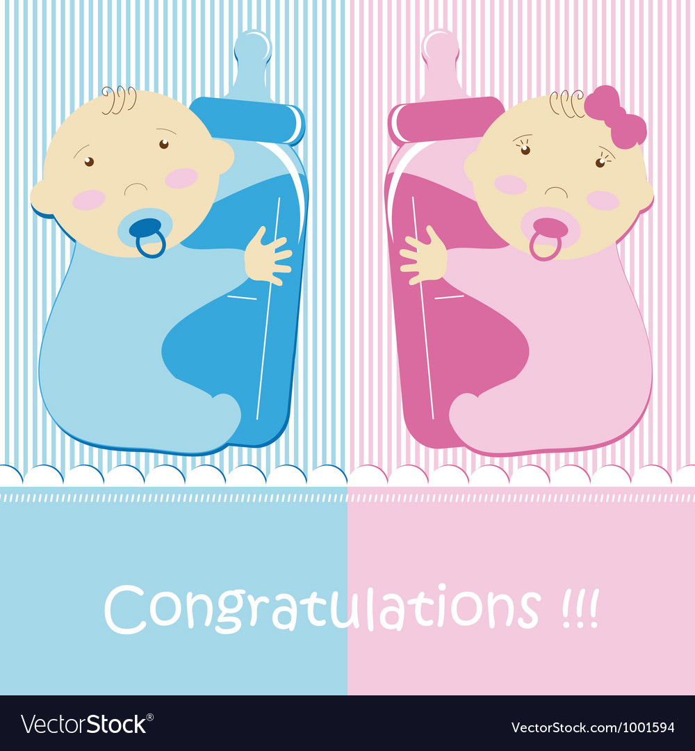 Twins baby boy and girl vector | Price: 1 Credit (USD $1)