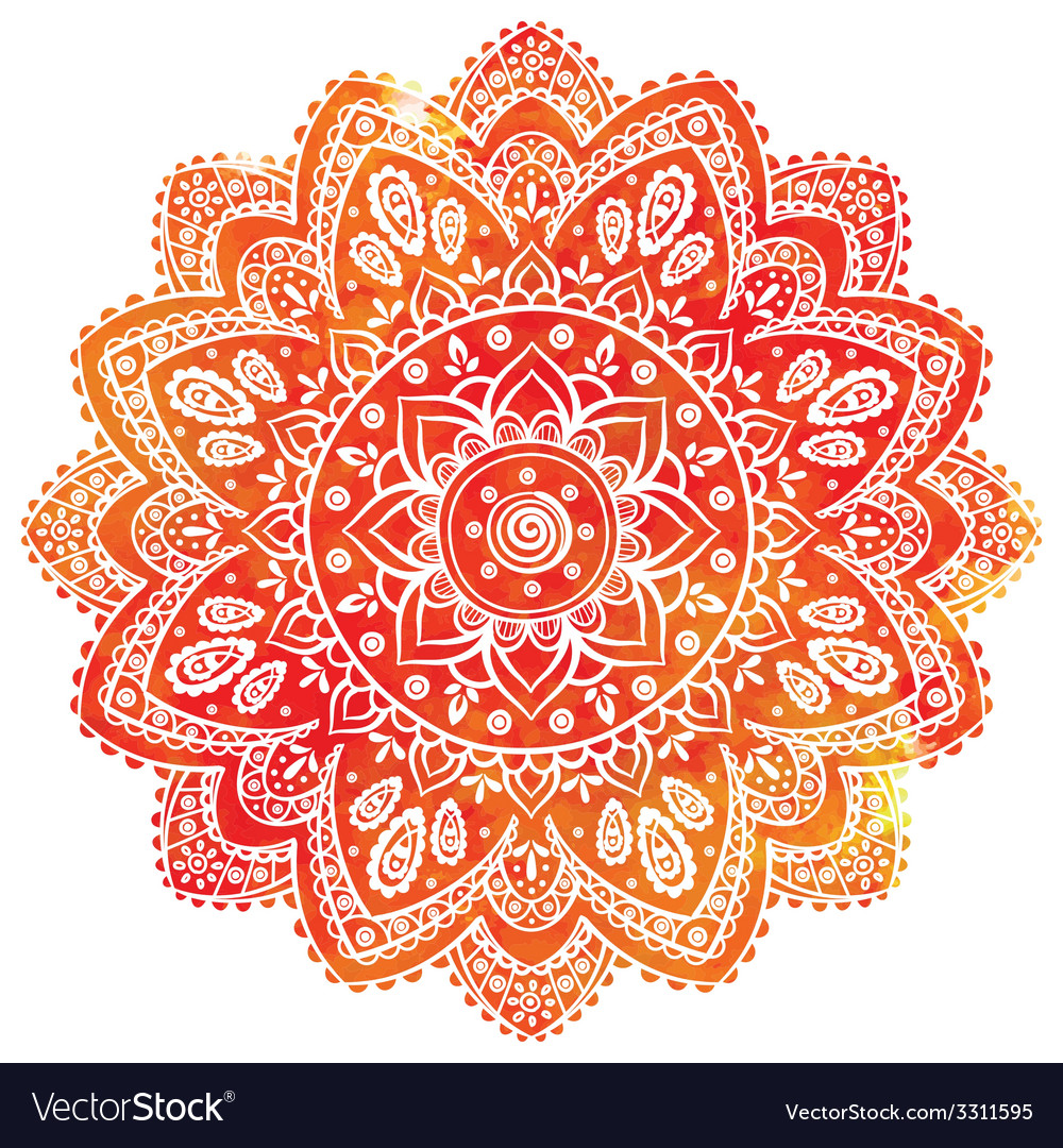 Beautiful watercolor floral indian ornament for vector | Price: 1 Credit (USD $1)