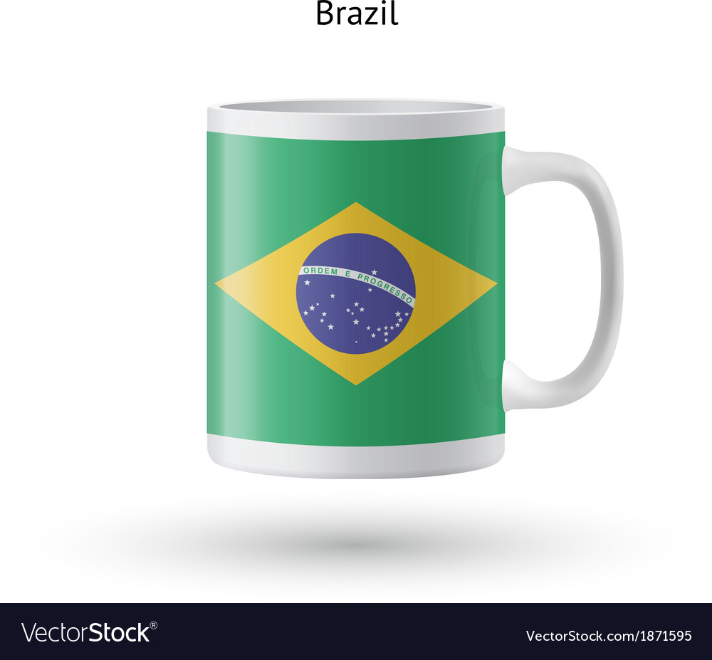 Brazil flag souvenir mug on white background vector | Price: 1 Credit (USD $1)