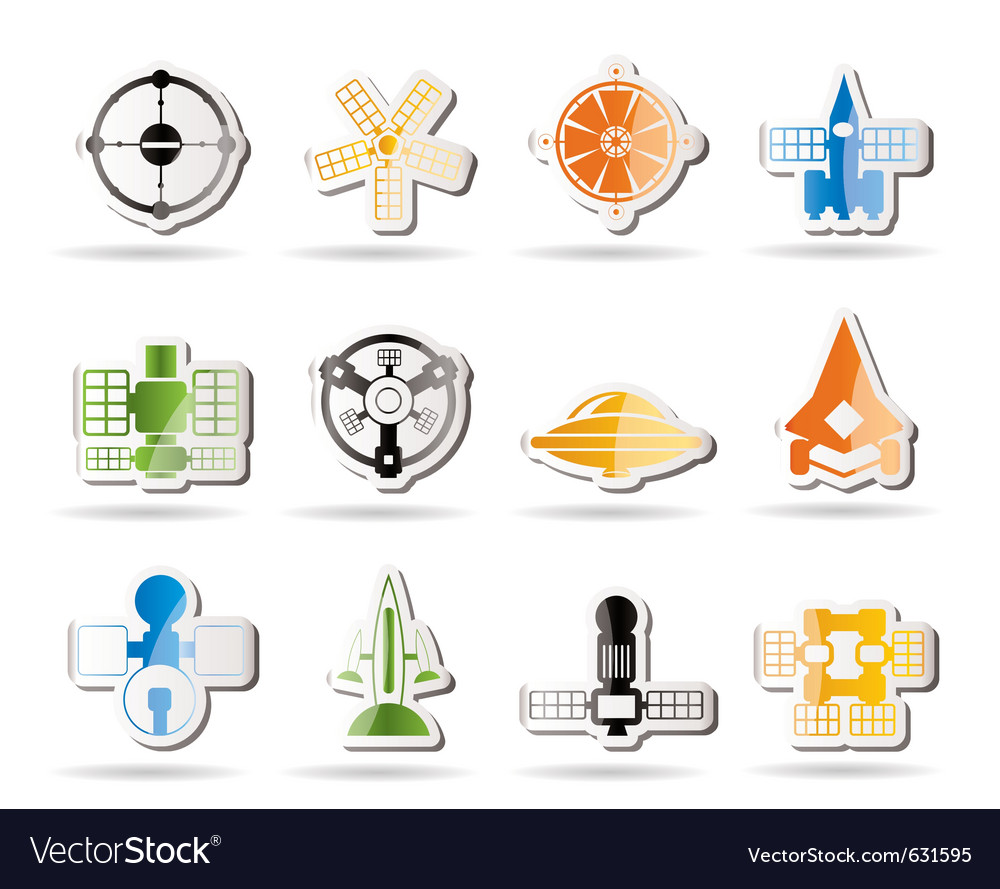 Future spacecraft icons vector | Price: 1 Credit (USD $1)