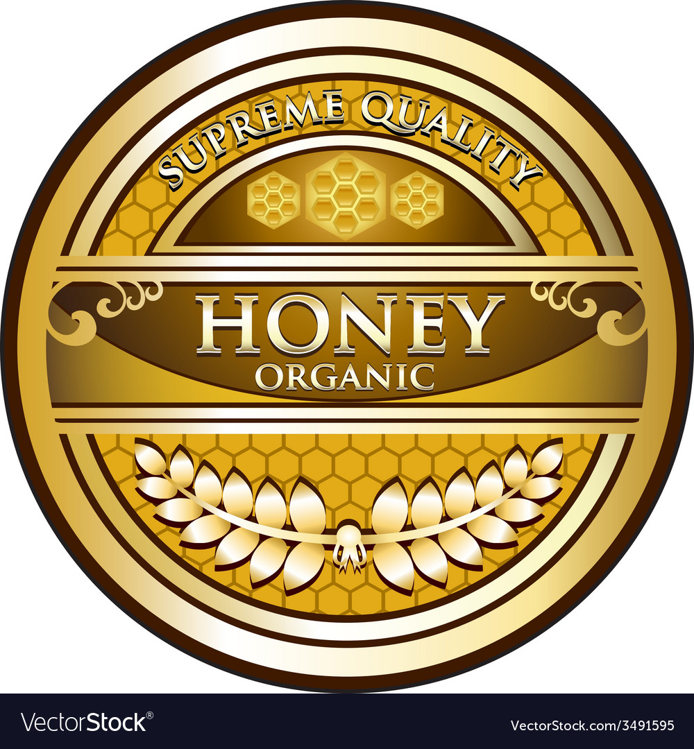 Honey gold label vector | Price: 1 Credit (USD $1)