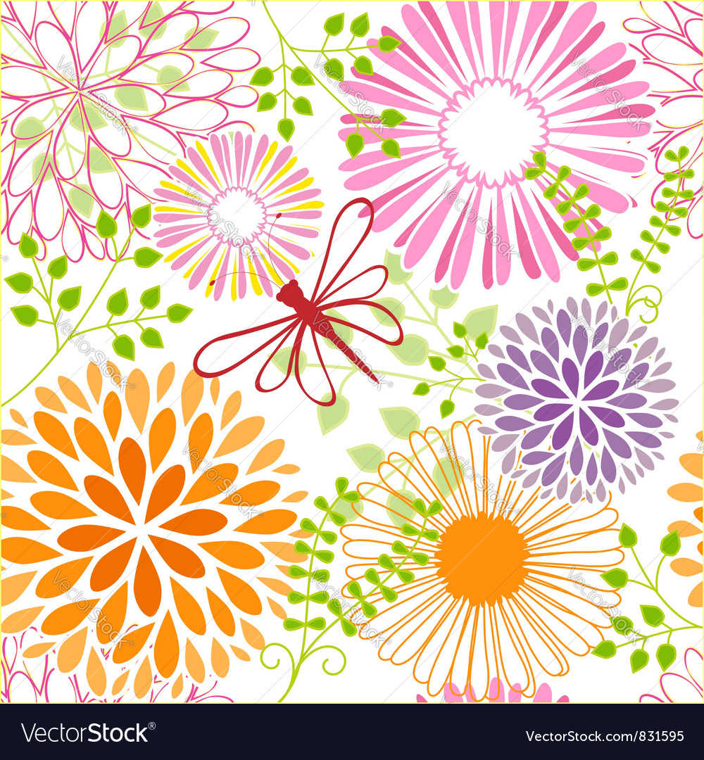Seamless flower butterfly vector | Price: 1 Credit (USD $1)