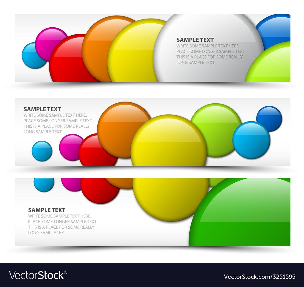 Set of horizontal banners with 3d circles vector | Price: 1 Credit (USD $1)