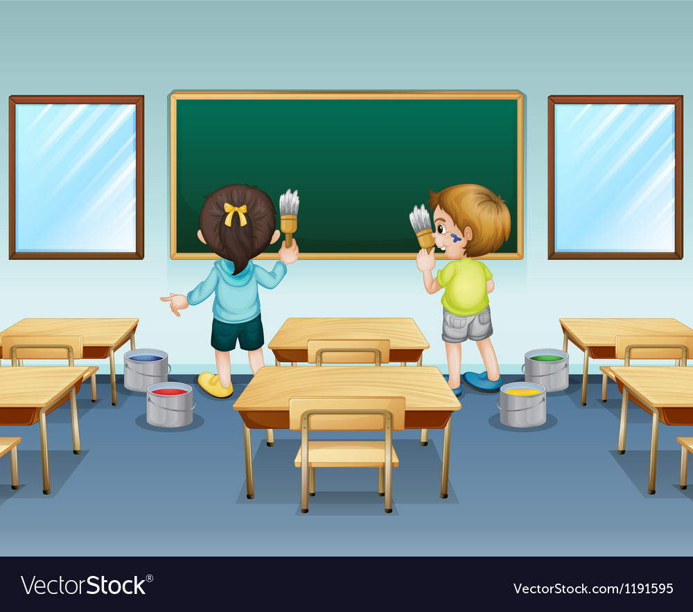 Students painting their classroom vector | Price: 1 Credit (USD $1)