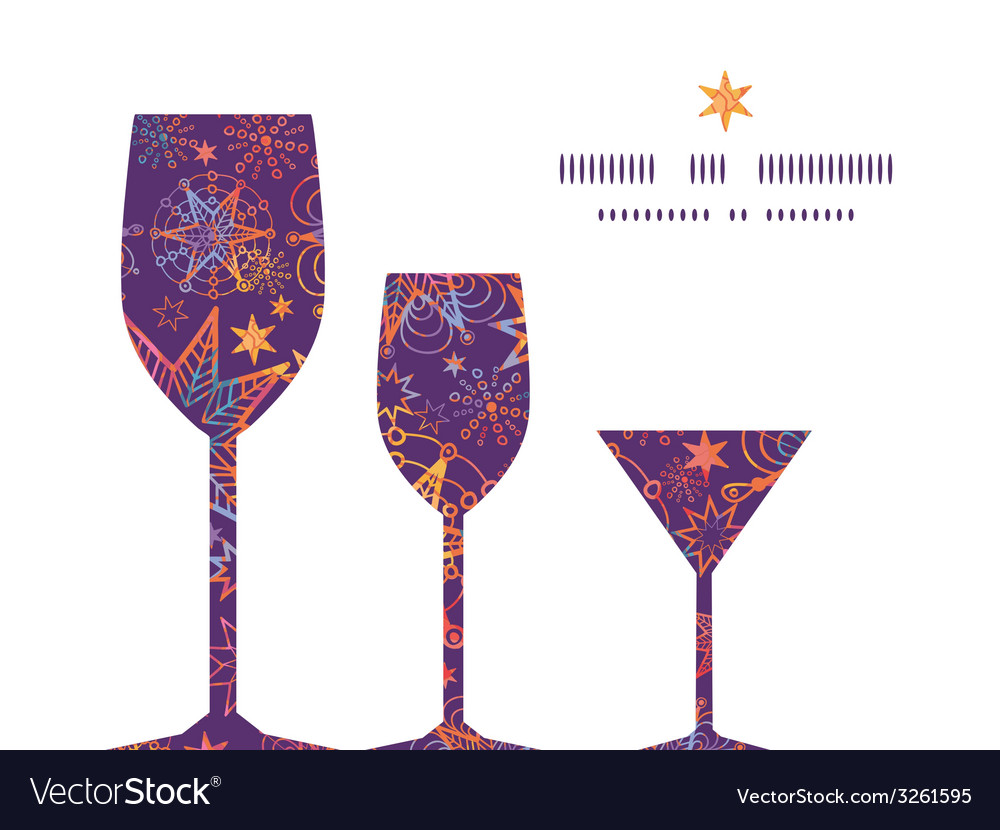 Textured christmas stars three wine glasses vector | Price: 1 Credit (USD $1)