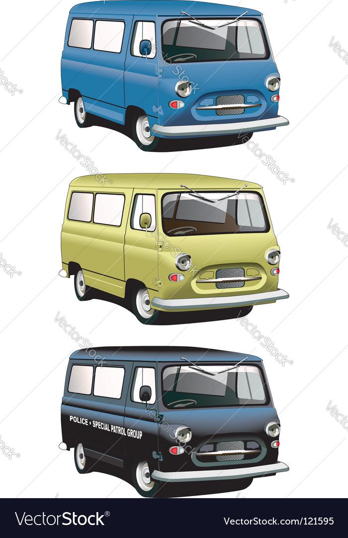 Vintage van set vector | Price: 1 Credit (USD $1)