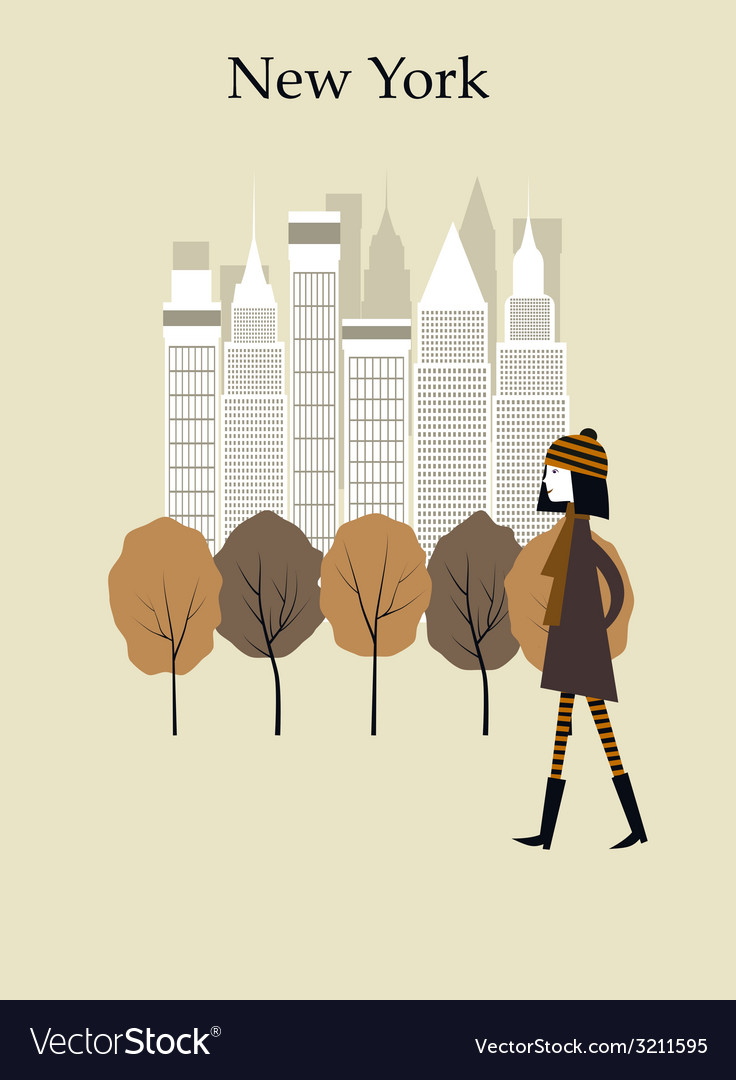 Woman in new york vector | Price: 1 Credit (USD $1)