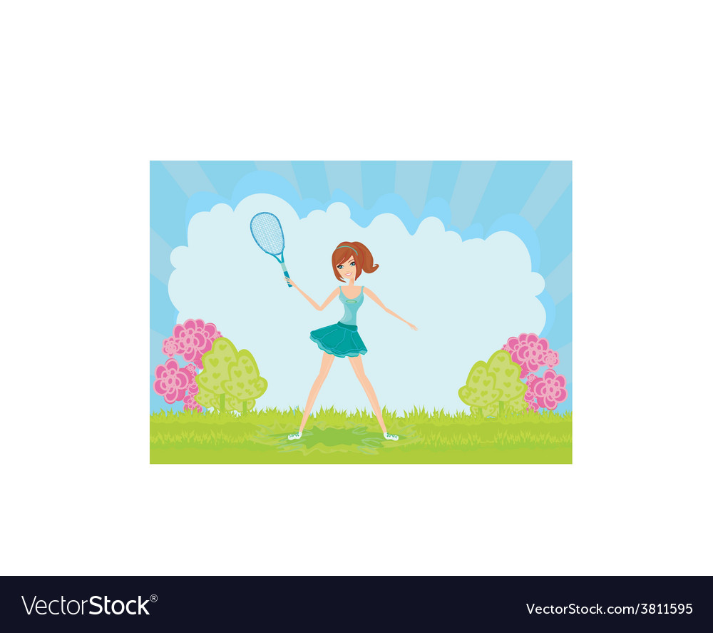 Young girl with a tennis racket vector | Price: 1 Credit (USD $1)