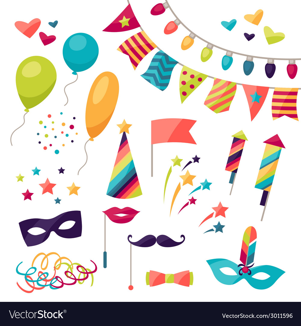 Celebration carnival set of icons and objects vector | Price: 1 Credit (USD $1)
