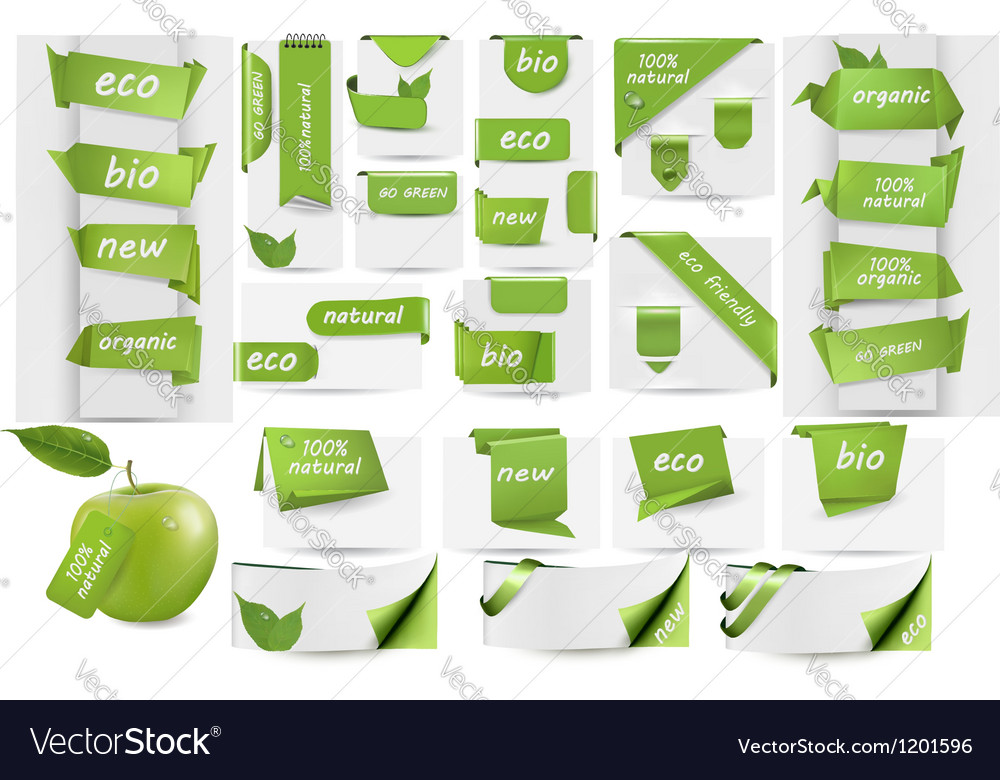 Collection with eco tags and labels and stickers vector | Price: 1 Credit (USD $1)
