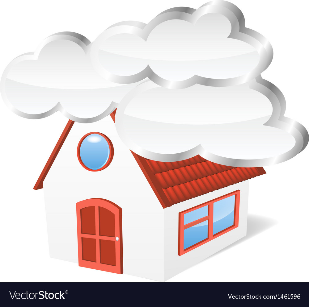 House with clouds vector | Price: 1 Credit (USD $1)
