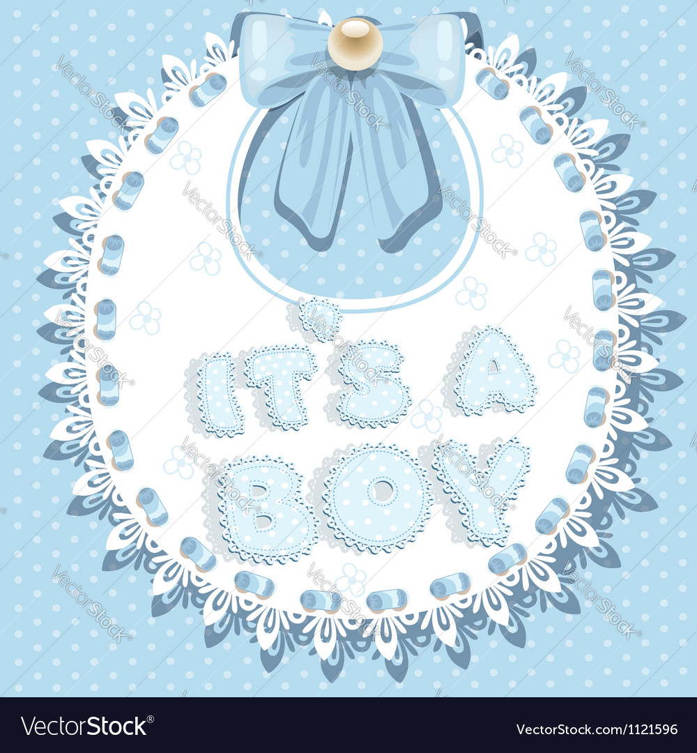Its a boy baby shower on bib vector | Price: 1 Credit (USD $1)